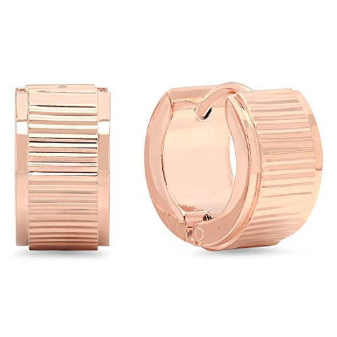 Ben and Jonah 18k Rose Gold Plated Stainless Steel Ridged Huggies