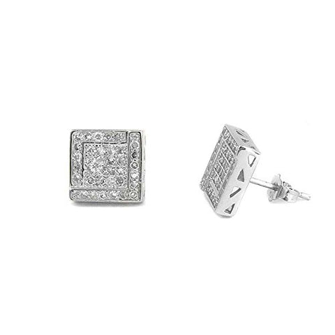 Ben and Jonah 925 Silver Micro Pave 10mm Square Stud Earrings with CZs