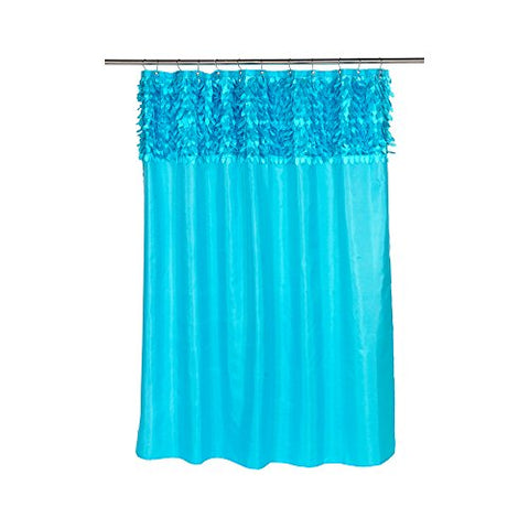 Park Avenue Deluxe Collection Park Avenue Deluxe Collection  inch Jasmine inch  Fabric Shower Curtain in Cyan Blue