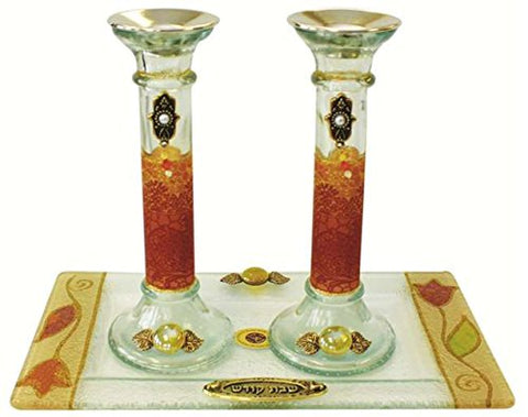 5th Avenue Collection Candle Stick With Tray Large Applique - Colorful - Tray 10 inch  W X 5 inch  L - Candlesticks - 7.5 inch  H