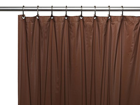 Park Avenue Deluxe Collection Park Avenue Deluxe Collection 3 Gauge Vinyl Shower Curtain Liner w/ Weighted Magnets and Metal Grommets in Brown
