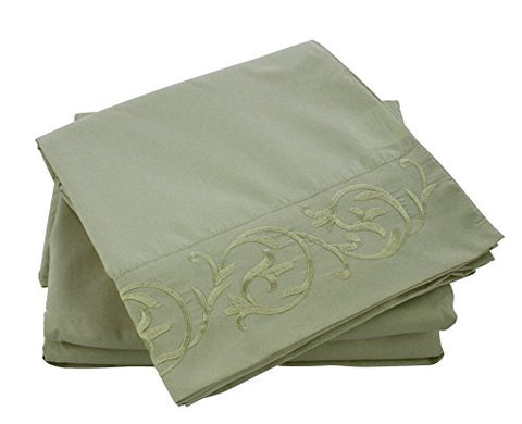 Cozy Home Embroidered 4-Piece Sheet Set Queen - Green