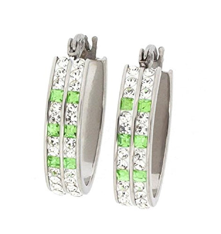 Ben and Jonah Stainless Steel Fancy Hoop Earring with Complete Clear Stone Coverage with 6 Light Green Stones