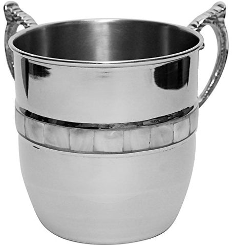 Ultimate Judaica Washing Cup Nickel W/Mother Of Pearl 5 inch H