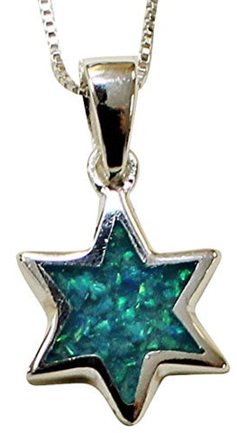 Silver & Opal Star Of David Necklace - Chain 18 inch  Pendant 5/8 inch  H 1/2 inch  W