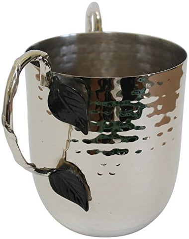 Ultimate Judaica Holister Washing Cup Hammered Stainless Steel With Silver Handles & Black Leaf - 5 inch  X 4.5 inch