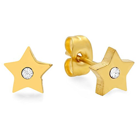Swarovski Elements Lady's 18K Gold Plated Stainless Steel Start Stud Earrings