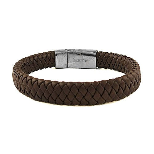 Ben & Jonah Braided Brown Faux Leather and Stainless Steel Bracelet with Magnetic Stainless Steel Fancy Lock (8.25 inch  L)
