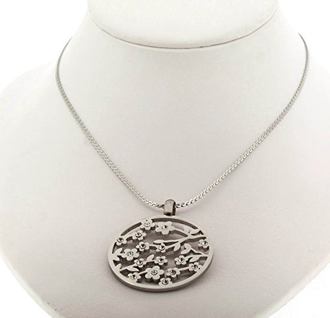 Ben and Jonah Stainless Steel Curbie Design Round Pendant with Stones on Fancy 18 inch  Necklace