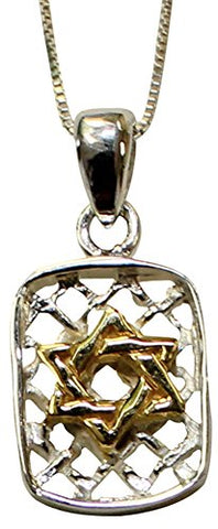 Silver Star of David Dog Tag Necklace With Gold Plating - Chain 18 inch  Pendant 5/8 inch  H  3/8 inch  W