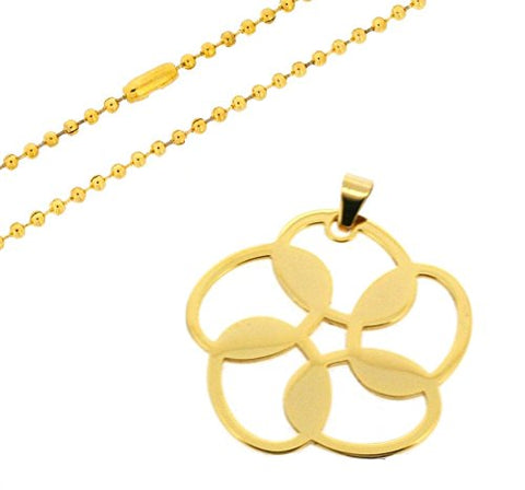 Ben and Jonah Stainless Steel Flower Design Pendant with 24 inch  Bead Chain Gold Plated