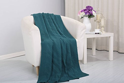 Tejido Collection Classic Woven Knitted Throw Blanket (50 inch  x 60 inch ) - Teal