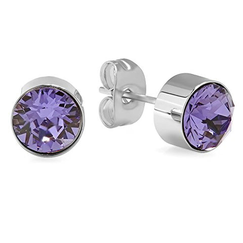 Lady's Stainless Steel 7mm Purple Swarovski Elements Stud Earrings