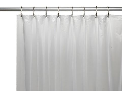 Park Avenue Deluxe Collection Park Avenue Deluxe Collection Premium 4 Gauge Vinyl Shower Curtain Liner w/ Weighted Magnets and Metal Grommets in Frosty Clear