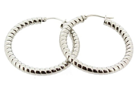 Ben and Jonah Stainless Steel Hoop Earring with Caterpiller Design (30mm)