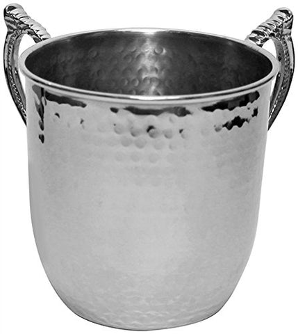 Ultimate Judaica Washing Cup Hammered Nickel 5 inch H