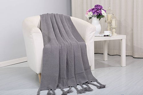 Tejido Collection Classic Woven Knitted Throw Blanket with Fringes (50 inch  x 60 inch ) - Grey