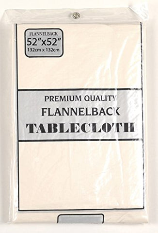 Simple Elegance by Bon Appetit Solid Color Vinyl Tablecloth with Polyester Flannel Backing - Ivory Rectangle (52 inch  x 90 inch )