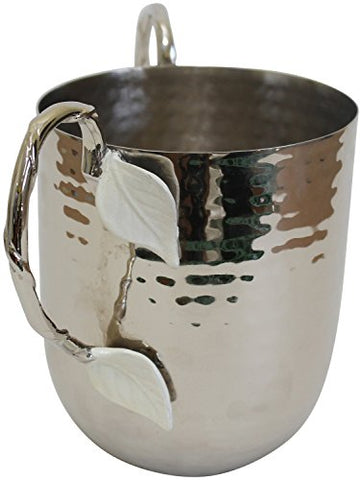 Ultimate Judaica Holister Washing Cup Hammered Stainless Steel With Silver Handles & White Leaf- 5 inch  X 4.5 inch