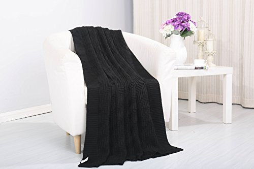 Tejido Collection Classic Woven Knitted Throw Blanket (50 inch  x 60 inch ) - Black