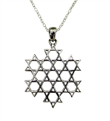 Silver Star of David Web Necklace - Chain 18 inch  Pendant 5/8 inch  W 7/8 inch  H