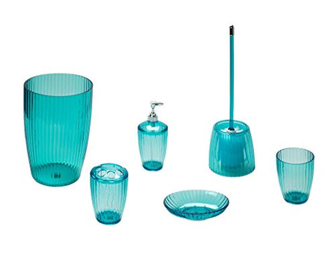 Park Avenue Deluxe Collection Park Avenue Deluxe Collection Cerulean Blue Ribbed 5 Piece Acrylic Bath Accessory Set