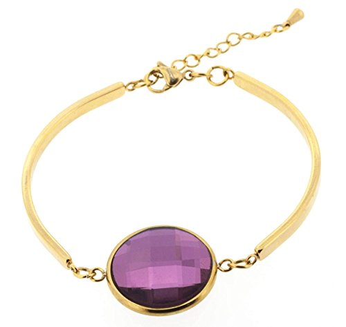 Ben and Jonah Stainless Steel Gold Plated Fancy Lady's Bracelet with Purple Cutting Stone