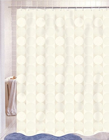 BenandJonah Collection Fabric Shower Curtain 70 x 72 inch  Circles in Line Ivory