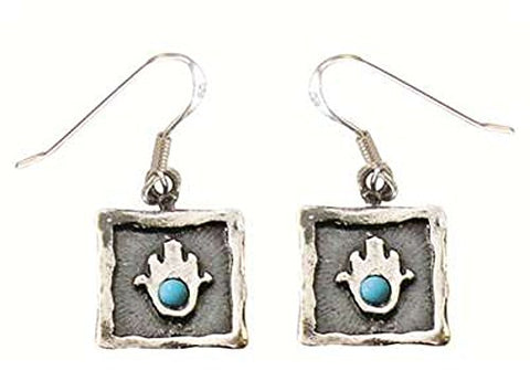 Geometric Swaure Hamsa Amulet Earrings With Turquoise - Hamsa Amulet 3/8 inch  X 3/8 inch