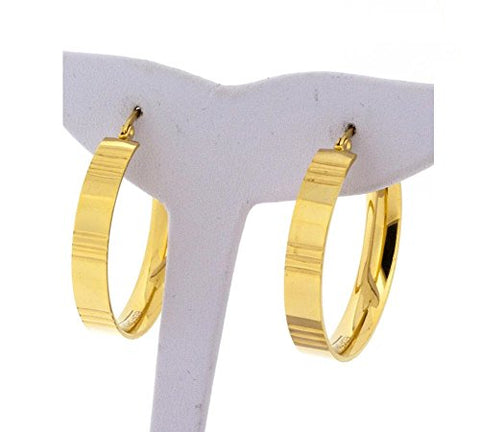Ben and Jonah Stainless Steel Gold Plated Polished Hoop Earring with Three Horizontal Channels Pattern