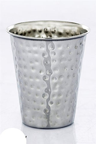 Stainless Steel Hammered Kiddush Cup - Cup 3 inch  H 2.5 inch