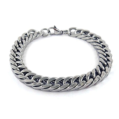 Ben & Jonah Stainless Steel Polished Square Link Bracelet with Lobster Lock (8.65 inch  L)