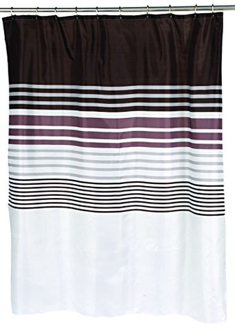 BenandJonah Collection Fabric Shower Curtain 70 x 72 inch  Brown Stripped Christina