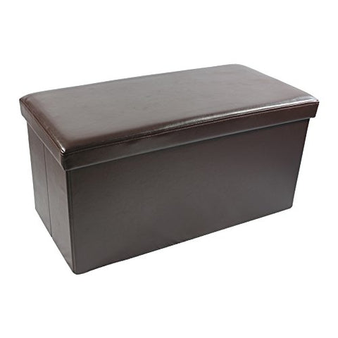 Ben&Jonah Collection Collapsible Storage Ottoman - Brown Faux Leather 30x15x15