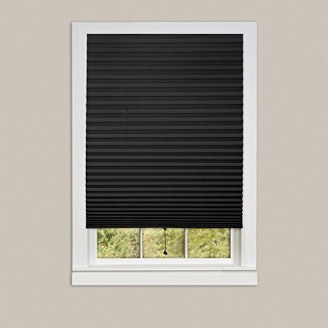 Park Avenue Collection 1-2-3 Vinyl Room Darkening Temporary Pleated Shade - Black - 36x75