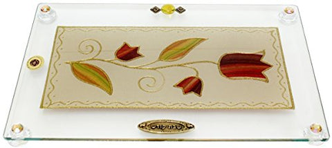 Ultimate Judaica Challah Tray On Legs Tulip - Colorful - 15  inch  W X 10  inch  L