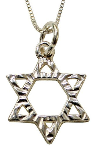 Silver Star Of David Necklace - Chain 18 inch  Pendant 1/2 inch  H 1/2 inch  W