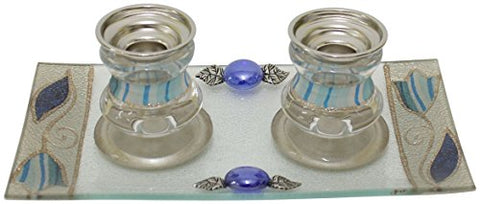 5th Avenue Collection Candle Stick With Tray Small Applique - Ocean - Candle Stick 2.5 inch  H  Tray 8 inch W x 4 inch H
