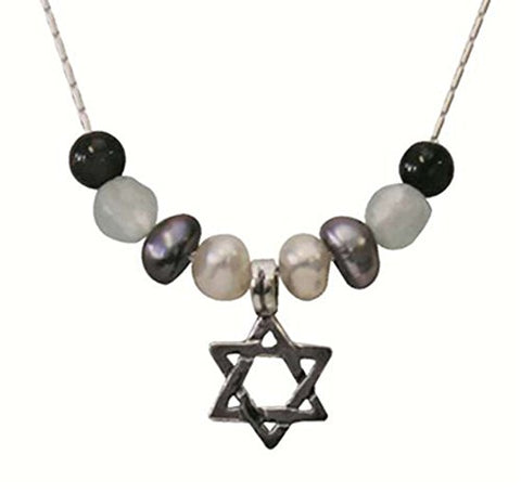 Silver Star Of David Necklace With Pearl Ocean And Garnet - Chain 16 inch  Pendant 5/16 inch  X 5/16 inch  H