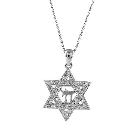 Ben and Jonah 925 Sterling Silver Chai in David CZ Star Pendant with 18 inch  Link Chain