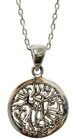 Silver Circle Shemah Amulet - Chain 18 inch  - Pendant 5/8'W x x1/2 inch H