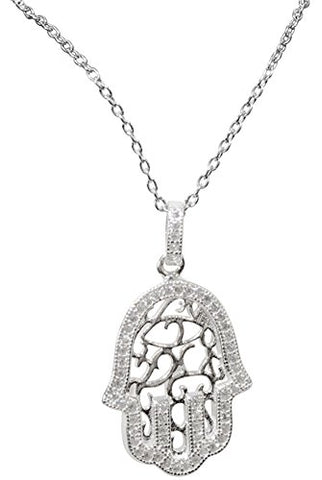 Silver Hamsa Necklace With Stones - Chain 18 inch  Pendant 1/2 inch W X 1 inch H