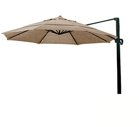 Eclipse Collection 11' CantileverUmbrella CrankLift MultiPositon Tilt Bronze/Sunbrella/C.Teak
