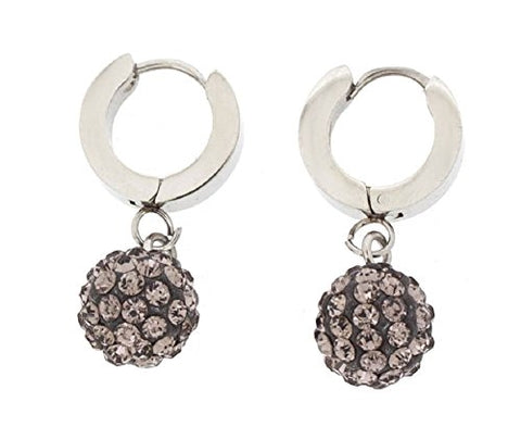Ben and Jonah Stainless Steel Huggie Base Earring with Hanging Black Disco Ball with Clear Stones