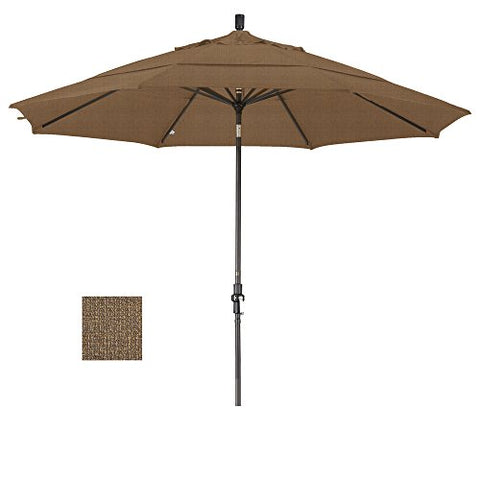 Eclipse Collection 11' Aluminum Market Umbrella Collar Tilt Bronze/Olefin/Woven Sesame/DWV