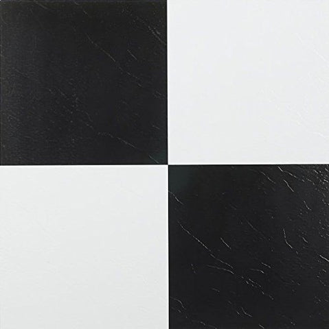 Park Avenue Collection NEXUS Black & White 12 Inch x 12 Inch Self Adhesive Vinyl Floor Tile #103 - 20 Tiles