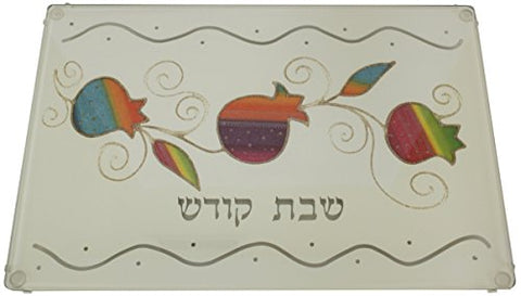 Ultimate Judaica Lazer Cut Challah Tray On Legs Applique - Rainbow - White - 910815-34 - 15  inch  W X 10  inch  L