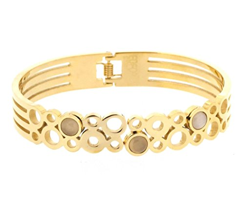 Ben and Jonah Stainless Steel Lady's Circles and Stones Bracelet with a Hinge Gold Plated