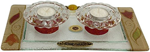 5th Avenue Collection Candle Stick With Tea Light Applique - Colorful - Tray 11 inch  W X 6 inch  L Candlesticks 2 inch  H