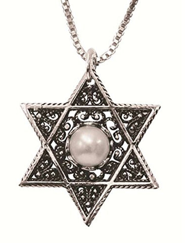 Silver Star Of David Necklace With Pearl - Chain 16 inch  Pendant 7/8 inch  W X 1 inch  H